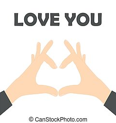 Love your business concept. Hands make the heart - vector