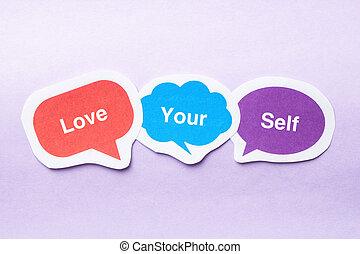 Love your self concept paper bubbles against purple...