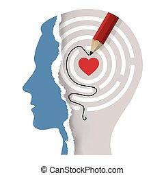 Love Your Self , male head, psychological concept. - ...