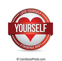 Love Yourself badge illustration design over white