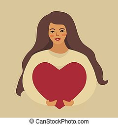 Love yourself, girl hugs heart. Narcissistic, self-confident people, increase self-esteem. Valentine's day, in love. Vector illustration