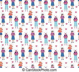 Love yourself, girl hugs heart seamless pattern. Endless background. Vector illustration
