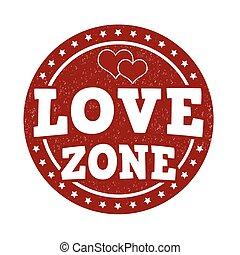Love zone stamp - Love zone grunge rubber stamp on white,...