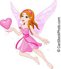 Love_fairy - Beautiful fairy holding heart. Vector...