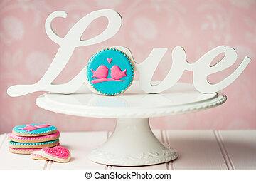 lovebird, biscoitos