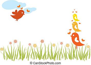 spring - lovebird family in spring
