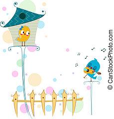 Lovebird Serenade - Illustration of a Lovebird Serenading...