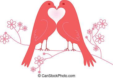 lovebirds., dag, valentinkort