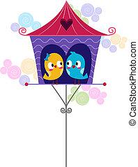 lovebirds, en, un, birdhouse