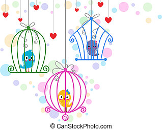 Lovebirds in Cages