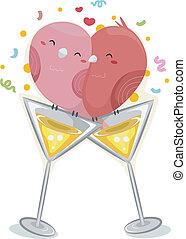 lovebirds, wineglass