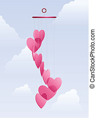 Lovechimes - Translucent heart shaped wind chimes against ...