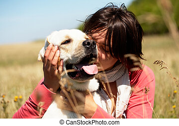 Loved dog - Photo of lady embracing her lovely dog in the...
