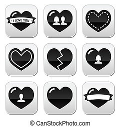 Love,hearts icons set for Valentine