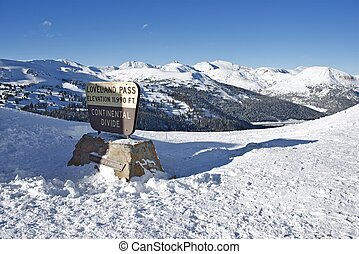Loveland Pass Summit in Winter. Colorado, United States.