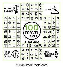lovely 100 travel icons set