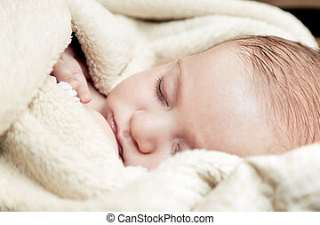 Lovely 3 months baby sleeping in soft blanket
