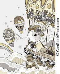 Lovely adult coloring page, miss rabbit takes hot air...