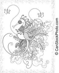 adult coloring page with hippocampus
