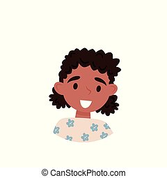 Lovely african american girl, avatar of cute little curly girl vector Illustration on a white background