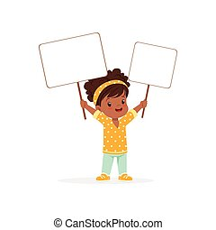 Lovely african girl carrying two blank signboards, kid standing with placards vector Illustration