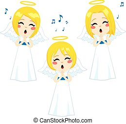 Lovely Angels Singing - Three cute little blonde angels...