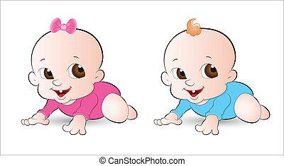 Innocent Babies - Lovely Art of Innocent Babies Vector...