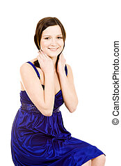 lovely attrictive young woman in blue dress