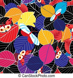 Lovely autumn bright color pattern of leaves and butterflies