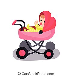 Lovely baby in a pink modern pram, transporting of small children with comfort cartoon vector illustration