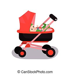 Lovely baby in a red modern stroller, transporting of small children with comfort cartoon vector illustration