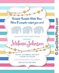Lovely baby shower card with elephant toy