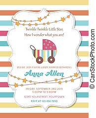 Lovely baby shower card with stroller