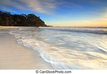 Lovely beach in early morning light - Soft motion in the...