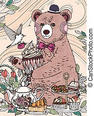 lovely bear coloring page