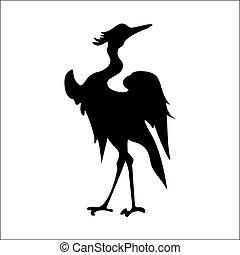 Lovely bird type stork in Japanese style, black