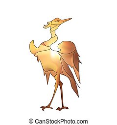 Lovely bird type stork in Japanese style, colored feathers