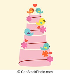 Lovely Birds With Wedding Cake.