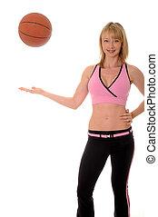 Lovely blond girl and basketball