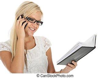Lovely Blond Girl Checking Diary