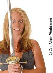 Lovely Blond Girl holding a sword