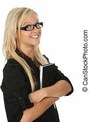 Lovely blond girl student