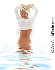 lovely blond in water pulling hair up - picture of lovely...