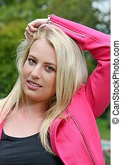 Lovely Blond Lady in Pink Jacket