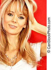 lovely blond over red #2 - portrait of lovely smiling lady...