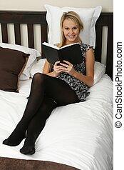 Lovely Blonde Book Reading Girl