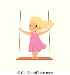 Lovely blonde girl swinging on a rope swing, little kid having fun outdoor vector Illustration on a white background