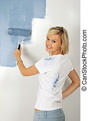 Lovely Blonde Painter Woman