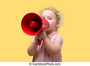 Lovely blonde toddler shouting through megaphone