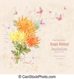 lovely bouquet of orange and yellow chrysanthemums with flying b